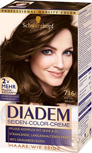 Schwarzkopf Diadem Seiden-Color-Creme, 716 Mittelbraun Stufe 3, 3er Pack (3 x 180 ml)