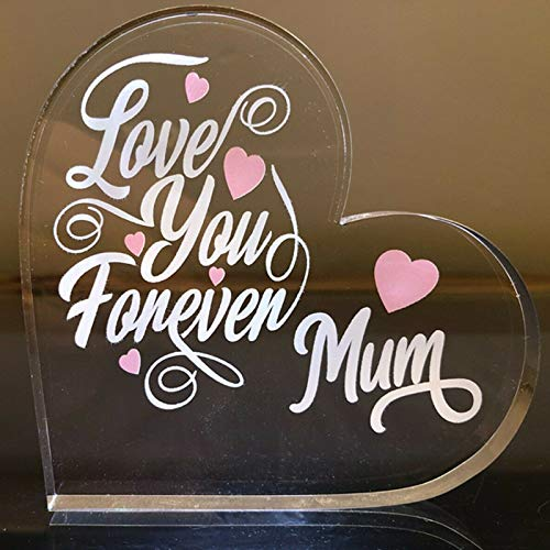 Love You Forever Mum Heart Shape Transparent Pink Arcylic Board Desktop Stand Home Decorations for Mom