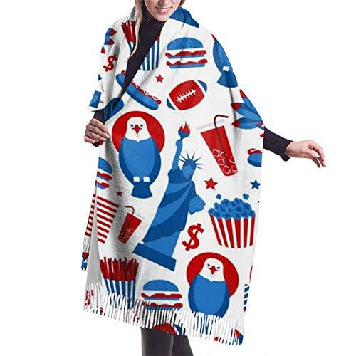 H.D. Winter Schal Damen Warm Baumwolle New York USA Flagge Pashmina Schals mit...