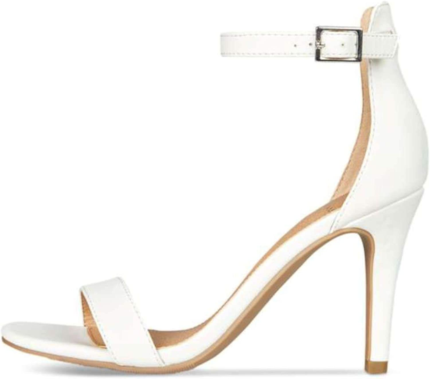 Material Girl Womens Blaire Open Toe Formal Ankle Strap, White Pu, Size 11.0