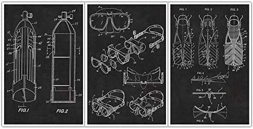 Scuba Diving Mask Tank Flippers Patent Posters product image