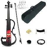 Kinglos 4/4 Farbig Massivholz Mittlere-B Elektrische Violine Geige Set mit Ebenholz Beschläge (DSZB0017)