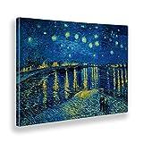 Giallobus - Cuadro - Impresion EN Lienzo - Vincent Van Gogh - Noche Estrellada EN EL RÓDANO - 50 x 70 CM