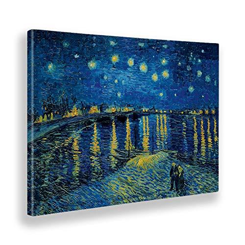 Giallobus - Cuadro - Impresion EN Lienzo - Vincent Van Gogh - Noche Estrellada EN EL...