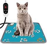 Furrybaby Pet Heating Pad, Waterproof Dog Heating Pad Mat for Cat with 5 Level Timer and Temperature, Pet Heated Warming Pad with Durable Anti-Bite Tube Indoor for Puppy Dog Cat (Green Paw, 18' X 18')