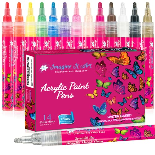 Acrylic Paint Markers, Rock Painting Kit, Set of 14, 5mm Medium Tip, 2 Metallics, Reversible tips, Water Based, Acrylic Paint Pens, Ceramic, Wood, Acrylic Markers, Rock Painting, Paint Pen, Paint Marker, Gifts for girls, arts and crafts, girl gifts