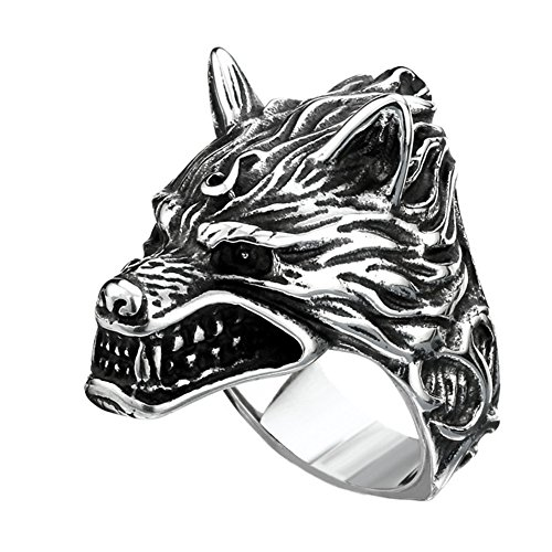 PAMTIER Men's Retro Wolf Head Stainless Steel Ring Size Z