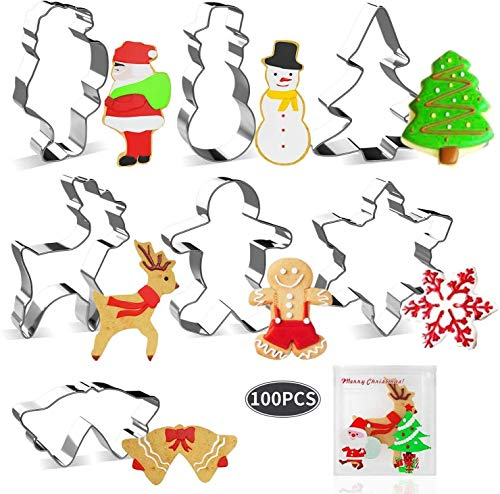 joyoldelf Moldes de Galletas, 7PCS Cortadores de Galletas Pan de Jengibre, Árbol de Navidad, Copo de Nieve, Reno, Muñeco de Nieve, Papá Noel, Campana para Niños, 100pcs Bolsa de Dulces