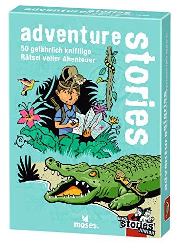 moses. Verlag GmbH 100095 Black Junior-Adventure Stories | 50 gefährlich knifflige voller Abenteuer | Das Rätsel Kartenspiel für Kinder ab 8 Jahren