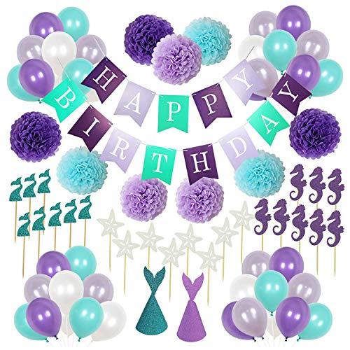 Cumpleaños Decoraciones, PTN Pancartas de Banderines, Incluir Banner de Feliz Cumpleaños, Flores de Pompones de Papel, Sombreros de Fiesta, Toppers, Globos de Látex (76 piezas)