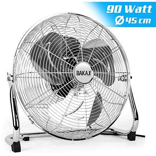 Bakaji Ventilatore Da Terra In Acciaio Con Pala da 45 cm Inclinabile Potenza 90 W e Motore a 3 Velocità Interior Deluxe