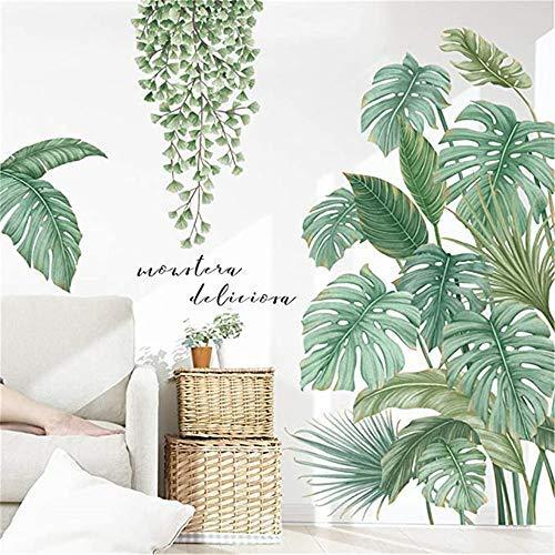 Wandtattoo DIY Wandsticker Wandaufkleber Grüne Pflanze Blätter Wandtattoos für Wohnzimmer Schlafzimmer Flur Kühlschrank (A)