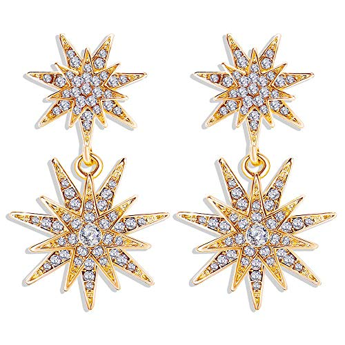 Starburst Dangle Drop Earrings Gold Plated Crystal Hexagram Star Stud Statement Dangle Earrings Wedding Earrings for Women