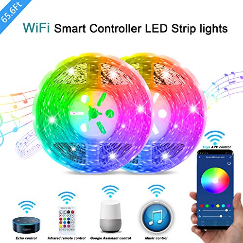 QJB 65.6ft-WiFi LED Strips Lights Remote Control 16 Million Color Changing Smart LED Tape Light swith Alexa Music Sync Rope Lights Decoration for Home Lighting Kitchen Bed Flexible Strip Lights Bar