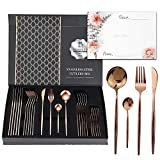 RoseGold 24 Silverware set for 6 people, gift sets with Premium box and Gift Letter, Stainless Steel Cutlery set, Rose gold Silverware set, Rose Gold flatware set, including Knife/Fork/Spoon/Teaspoon