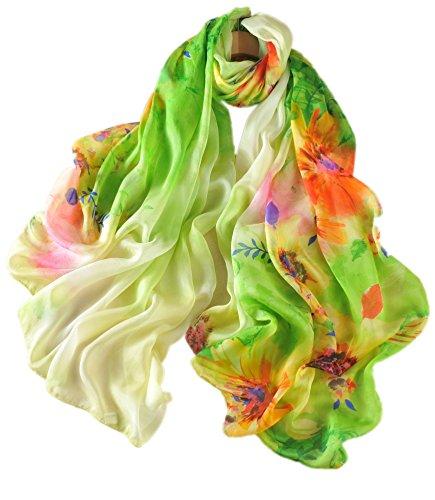 prettystern Bufanda de seda de gran tamaño XXL para mujer, estampado floral, Multicolor y verde., XX-Large