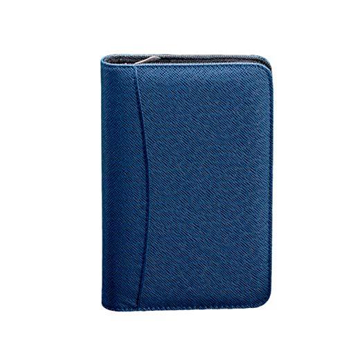 Bloco de notas empresarial com capa de couro PU A6 com zíper e calculadora (café)