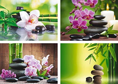 Artland Africa Studio: Spa Steine, Bambus Zweige und weiße Orchidee auf dem Tisch auf natürlichem Hintergrund