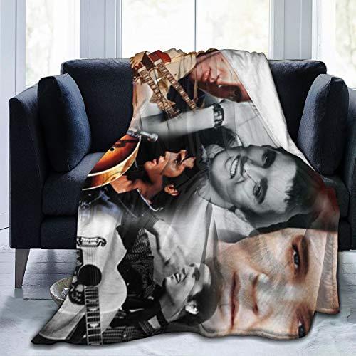 Lucky House1 El-Vi-s Powerful Pr-ESL-Ey Ultra Soft Throw Blanket Flannel Fleece All Season Light Weight Sofa Couch Creative Warm Blanket,Black,60'' X50
