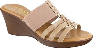Easy Street Women's Wedge Sandal, Natural, 6 Wide