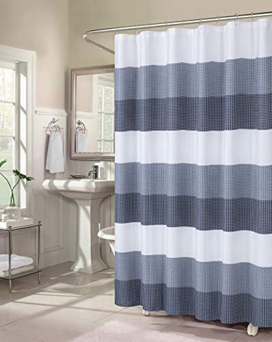 Dainty Home Ombre Waffle Weave Fabric Shower Curtain in Navy