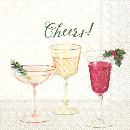 Weihnachtspapierservietten, Cocktail-Servietten für Weihnachtsparty, Weihnachts-Servietten, Prost, 12,7 x 12,7 cm, 40 Stück