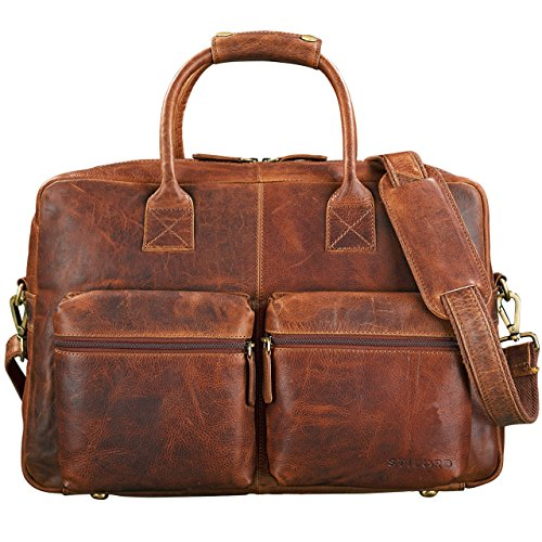 STILORD \'Ben\' Vintage Businesstasche Leder groß Unisex Umhängetasche 15,6 Zoll Laptop College Bag Aktentasche Uni echtes Rindsleder, Farbe:Kara - Cognac
