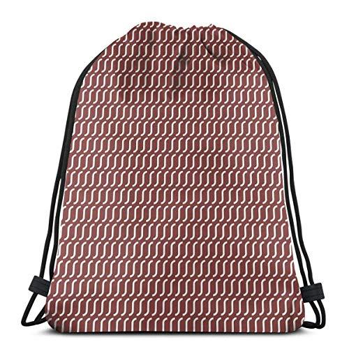 Hangdachang Kurvige gewellte Linien, einfaches Muster auf dunkelrotem Hintergrund, Vintage-Twist-Fliese, verstellbarer Kordelverschluss, bedruckter Kordelzug, Rucksäcke Taschen