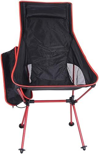 MM&KK Pliage extérieur Lune Chaise en Alliage d'aluminium portable Chaise de pêche Barbecue Jardin randonnée Ultra léger Chaise Longue Pliante, Rouge
