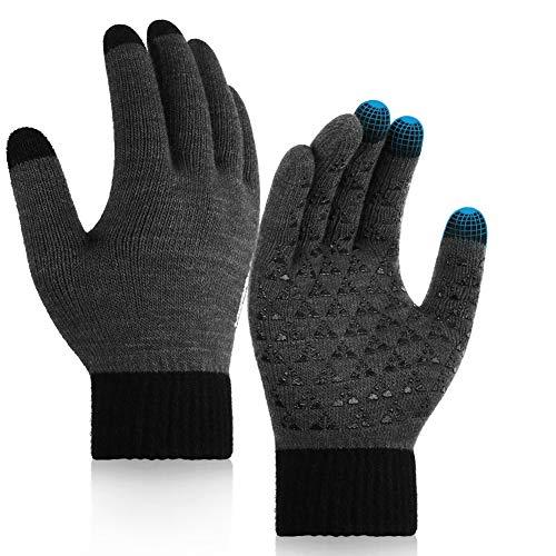 Winter Gloves for Men Women, Merisny Touchscreen Warm Knit Anti-Slip Silicone Gel Full Fingers Women Gloves Mens Gloves Unisex (Large)