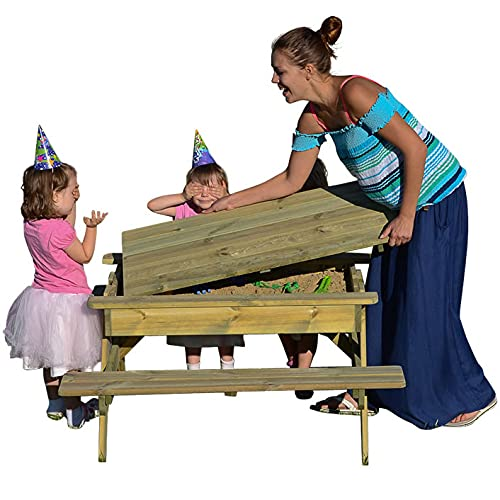 BrackenStyle Children's Sandpit Picnic Table - Kids Garden Play Table With...