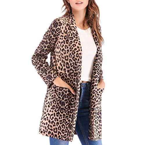 Bumplebee Leopard Mantel Damen Lang Elegant Cardigan Damen Lang Windbreaker mit Taschen Herbst Winter Warm Strickjacken Lang Damen Leicht Winterparka Outwear Mode Trenchcoat Overcoat Dufflecoat