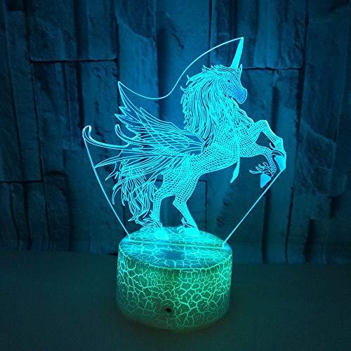 3D LED Night Light Desk Table Lamp Room Home Decoration Birthday Kids Gift Cartoon Cute Horse Unicorn Flying Wings Fairy Tale Girl