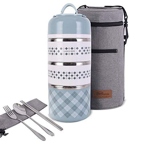 Newox Boîte à déjeuner isotherme Bento avec cuillère et folk pour adultes, femmes, enfants, bureau, camping