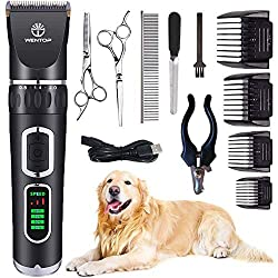 All in One Kit : This electric grooming clippers kit includes 12 tools: 1 x Pet clipper( included Battery), 1 x USB cord(No adapter), 1 x Cleaning Brush, 4 x Comb Attachments(3-6-9-12mm), 1 x Stainless Steel Scissor, 1 x Stainless teeth scissor, 1 x ...