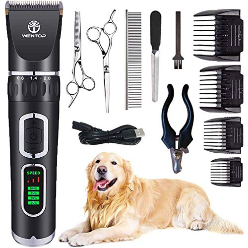 WenTop Dog Clippers, Professional 3-Speed Grooming Clippers, Rechargeable,...