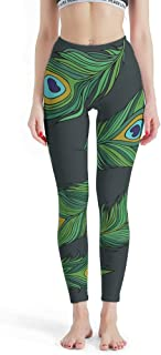 Women's High Waisted Yoga Legging Green Peacock Printed Leggings Tights for Pilates Gym