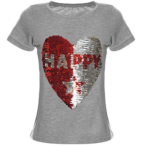 Kinder Mädchen T-Shirt Wende-Pailletten Bluse Shirt 21357 Grau Größe 152