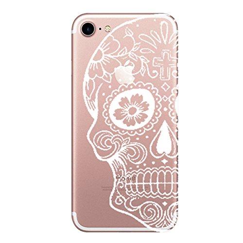 AIsoar iPhone 7 Case Custodia,Alsoar iPhone 7 Cover Cuscino d'Aria Protettiva Shock-Absorption Silicone Trasparente Morbido Ultra Sottile Fenicotteri Disegno Case per iPhone 7 iPhone 7 (Cranio)