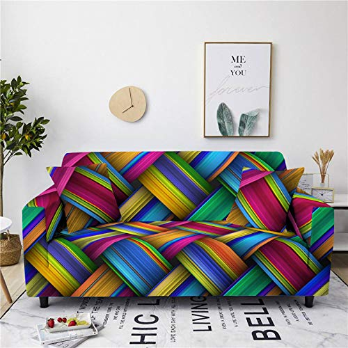 Stretch Sofa Couch Covers Elastic Fabric Gradient Weave Pattern Universal Fitted Armchair Loveseat Settee Slipcover Durable Furniture Protector From Dogs/Pets/Kids,3,seater 190,230cm