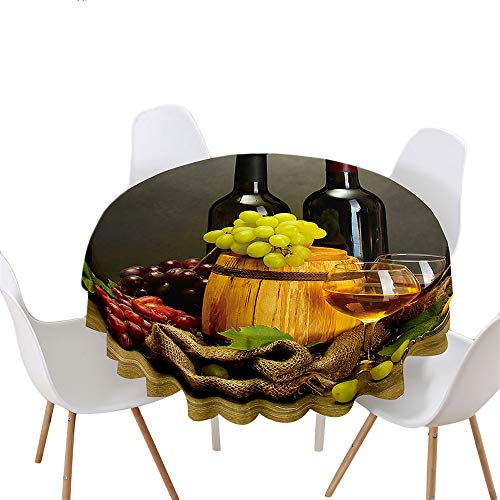 Highdi Impermeable Mantel de Redondo, Antimanchas Lavable Manteles Moderno Decoración para Salón, Cocina, Comedor, Mesa, Interior y Exterior (Redondo 120cm,Copa de Vino)