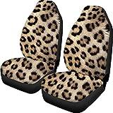 Showudesigns - Funda protectora de asiento de coche con estampado de leopardo para asiento delantero universal para coche, camión, SUV, sedanes 2 piezas