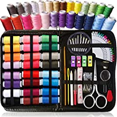 ► SEW SIMPLY TO CHOOSE, #1 best choice High quality DIY travel sewing kits for adults, sewing kits for girls a must have, premium sewing supplies in XL Zippered durable PU leather Case, XL Spools of Thread, Great gift for kids and adults, summer camp...