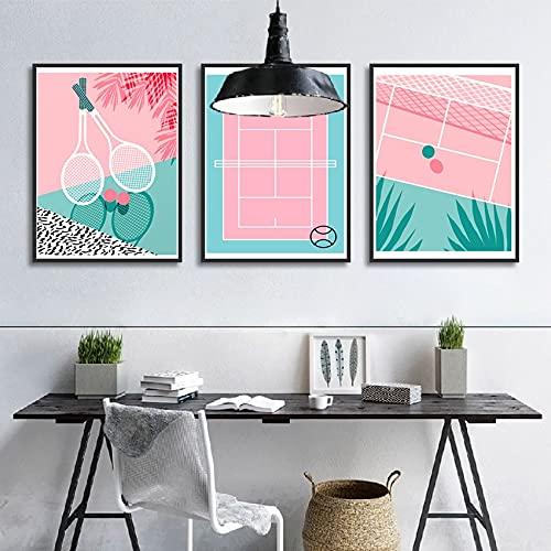 Arte de la pared de la raqueta de la cancha de tenis de dibujos animados nórdicos póster rosa azul simple moderno decoración del hogar sala de estar club 3 piezas 20x30cm sin marco