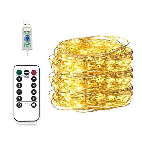 Luces de cadena LED 5M USB Enchufe de control remoto Luces de hadas IP65 impermeable para la decoración de la fiesta de jardín Luces cálidas para interiores
