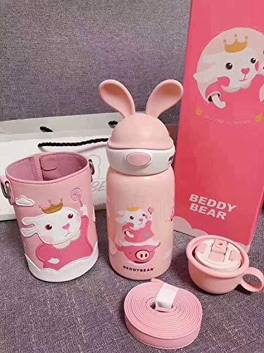 Thermos Per Bambini Con Bicchiere Per Bere in Paglia Bollitore Per Maschi E Femmine Per Bambini Dell'asilo 580 / Coniglio volante-Invia spazzola per tazza