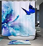 LAundNA Wasserdicht & schimmelresistent Polyester Stoff Bad Duschvorhang Set mit 12 Kunststoff Haken, 180 * 180cm , 4