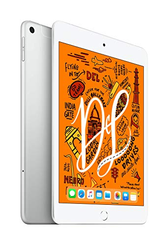 2019 Apple iPadmini with A12 Bionic chip (7.9-inch/20.1 cm, Wi‑Fi + Cellular, 64GB) – Silver (5th Generation)