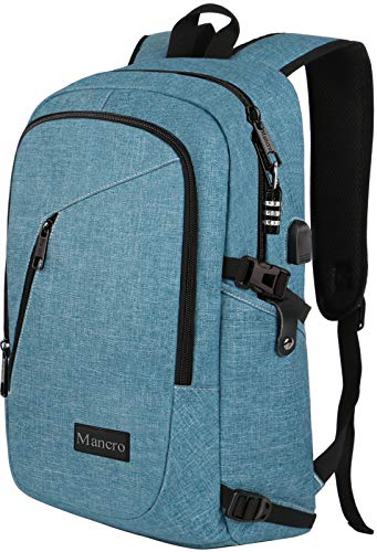 Mancro School Backpack for Women, Anti Theft College Student Backpack with USB Port, Slim Lightweight Laptop Backpack, Water Resistant Rucksack for Work Campus Fit 15.6' Computer (Crest Blue)