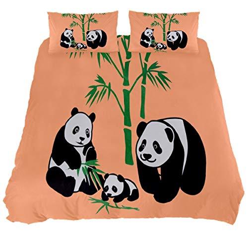 N\O Pandas Graphic Bear Bamboo Bedding Sets Breathable Bedclothes 3 Pieces Bedding Duvet Cover Sets (1 Duvet Cover + 2 Pillowcases) Room Decor Ultra Soft Microfiber(NO Comforter Included)